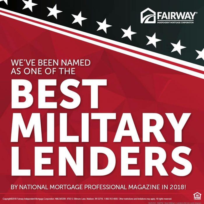 Bold white text that says Fairway has been named as one of the best military lenders in 2018! over a red, white, and blue background