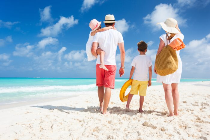 A young family on the beach